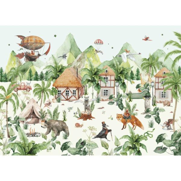 papier peint magical village 3