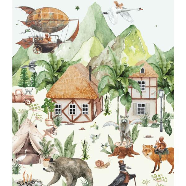 papier peint magical village 4