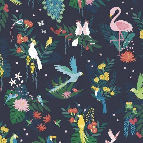 papier peint oiseaux tropicaux lilipinso