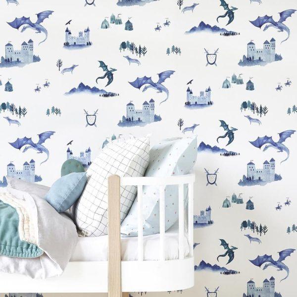 papier peint enfant châteaux et dragons (1)
