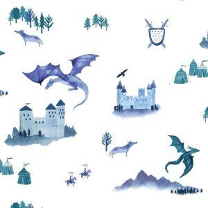 papier peint enfant châteaux et dragons (2)