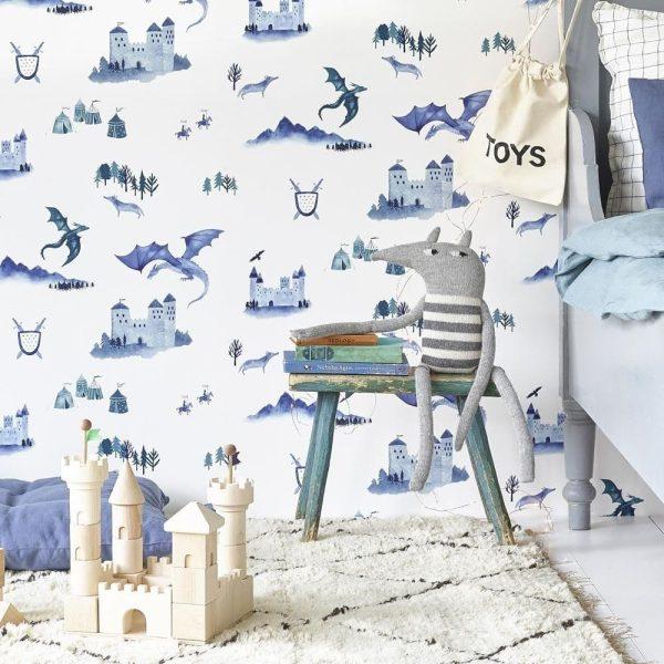 papier peint enfant châteaux et dragons (5)