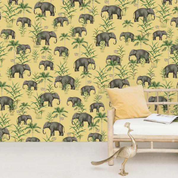 papier peint oscar the elephant yellow 2