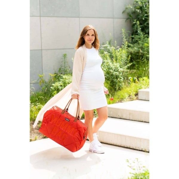 sac mommy bag matelassé rouge childhome (4)