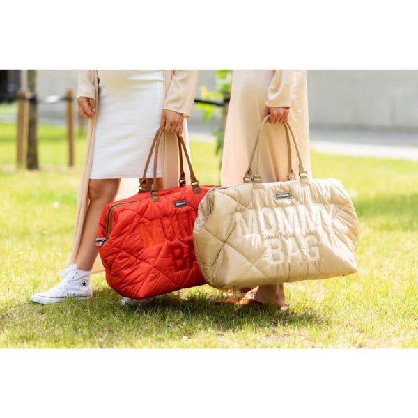 sac mommy bag matelassé rouge childhome (8)