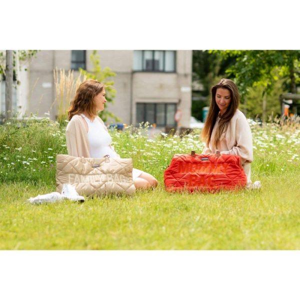 sac mommy bag matelassé rouge childhome (9)