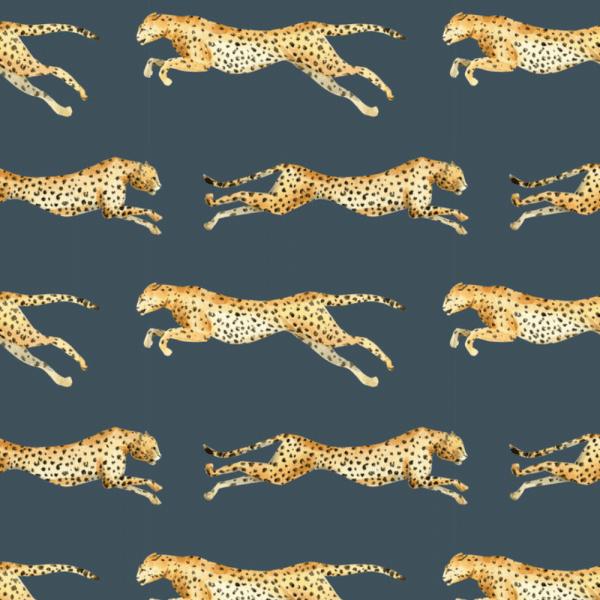 papier peint leopard blue 1